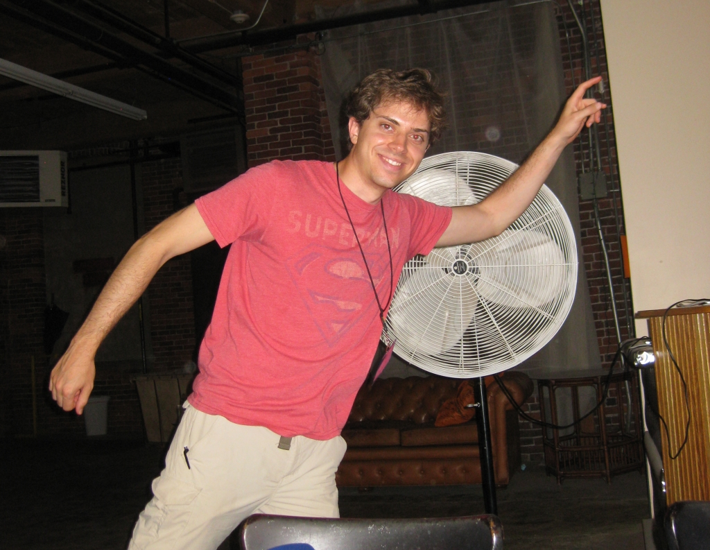 It's hot, so Brian cools down with help from a fan
