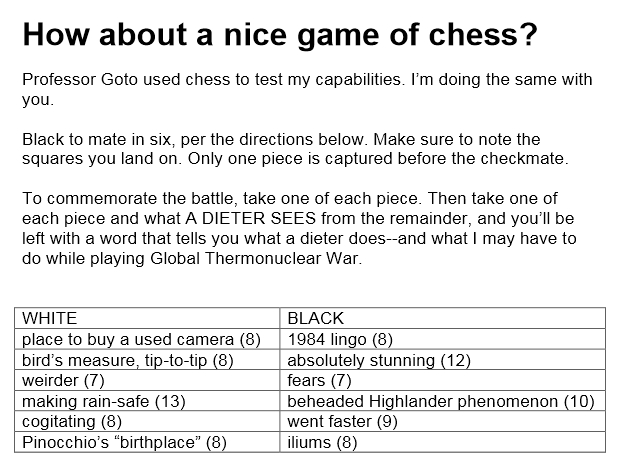 Rules for playing chess