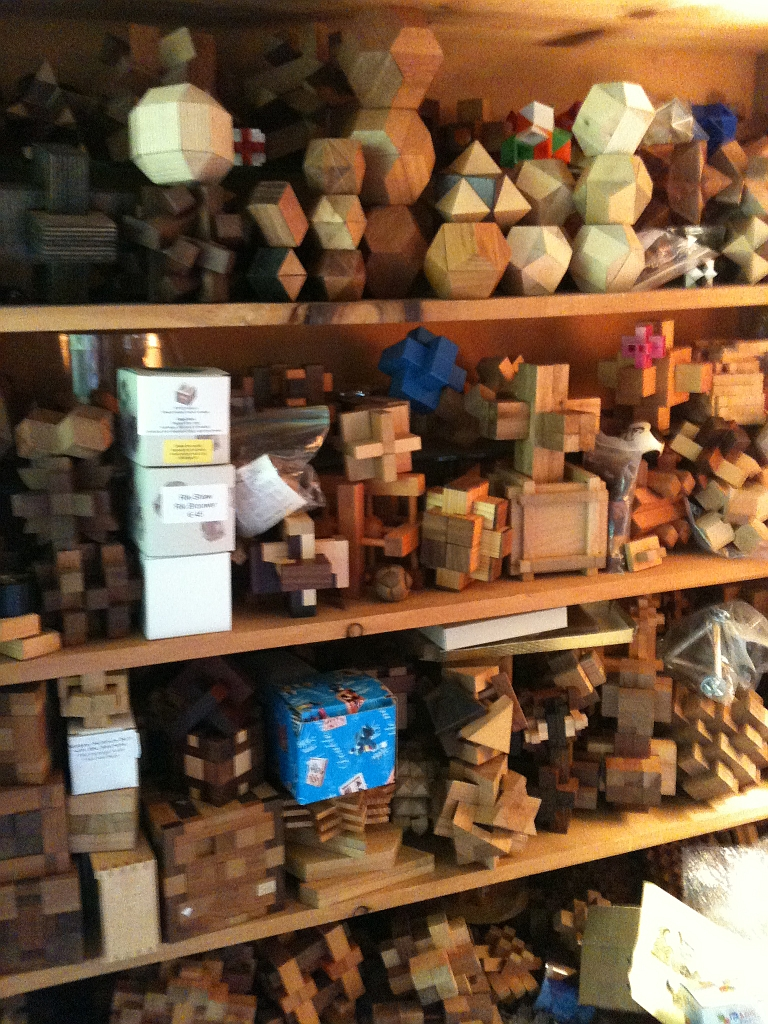 The shelves of burrs and wooden interlocking puzzles