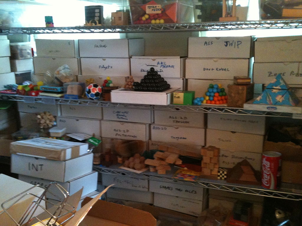 Even more shelves and boxes of puzzles.