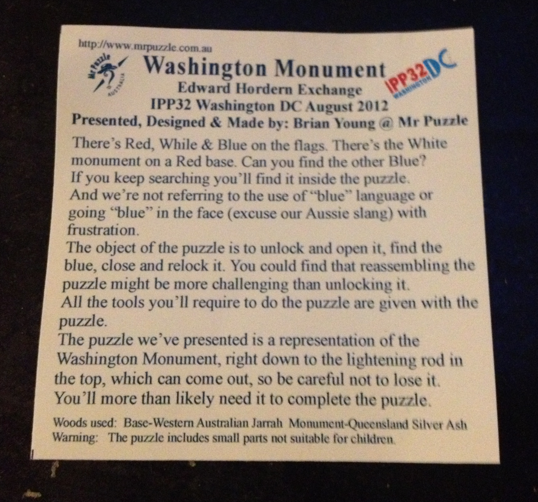 Washington Monument description card