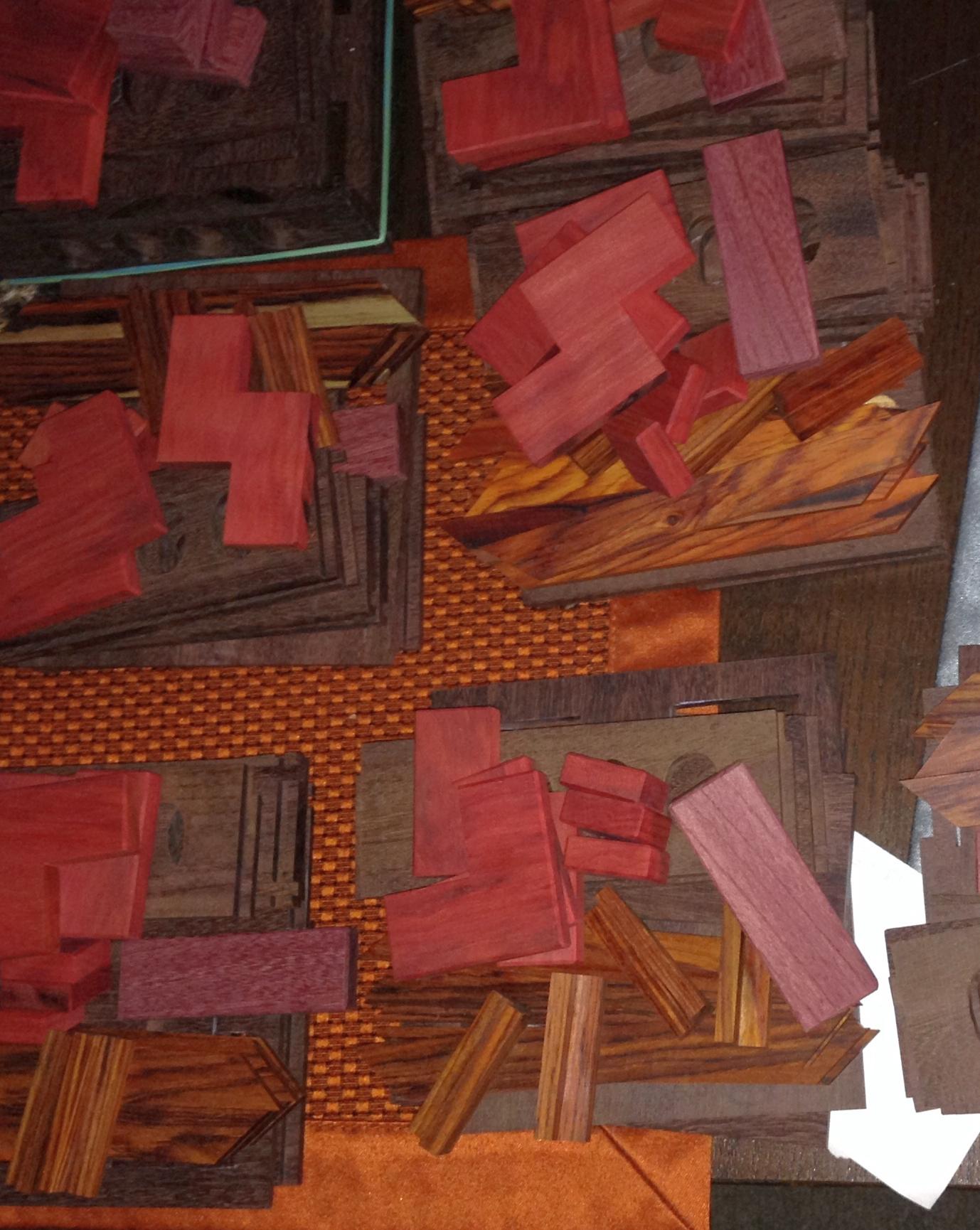 Piles of puzzle box pieces