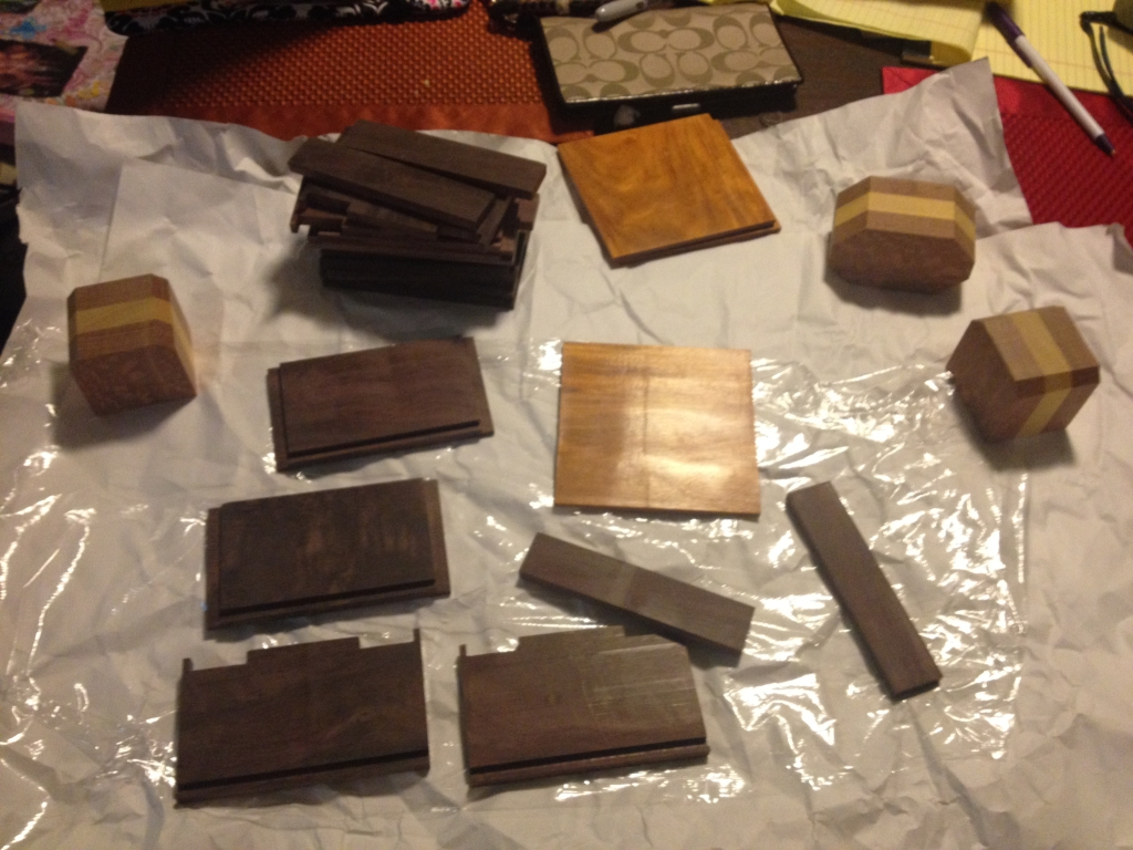 Boxes cut, and ready for glueup.  Base pre-finished.