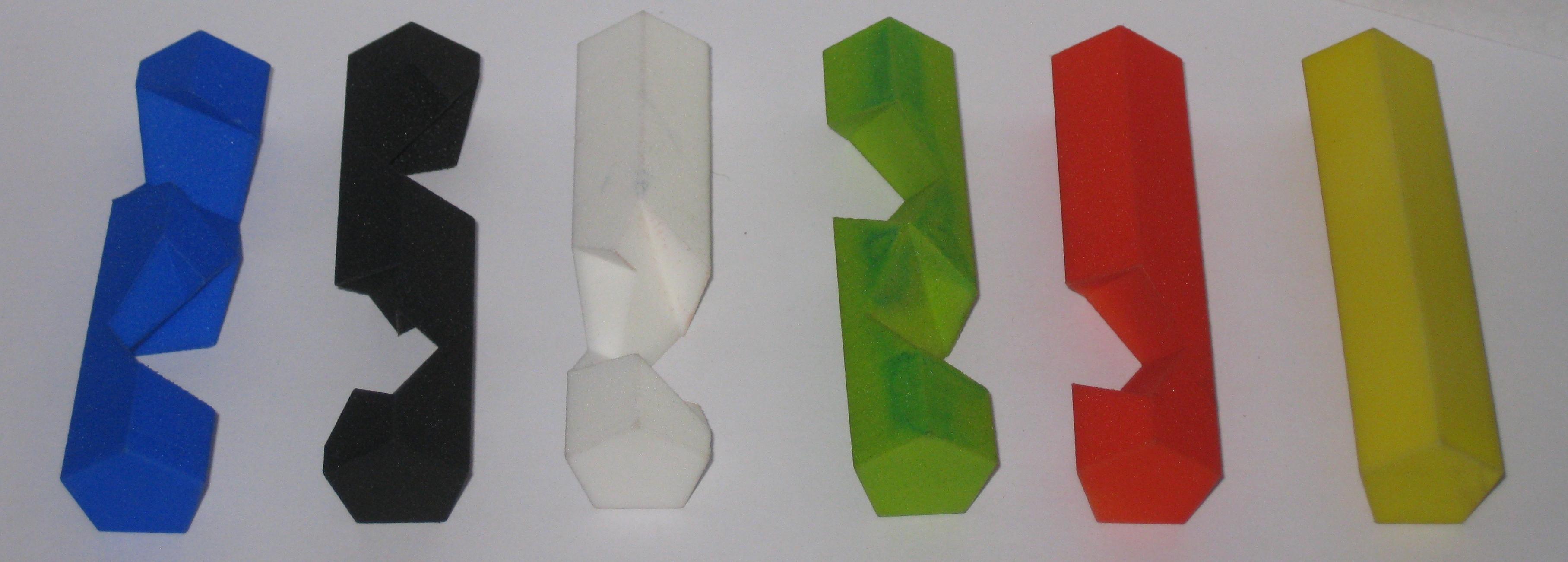 Six pentagonal pieces