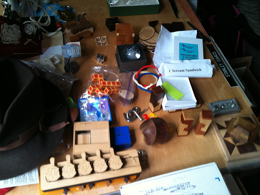 One of the tables covered in puzzles
