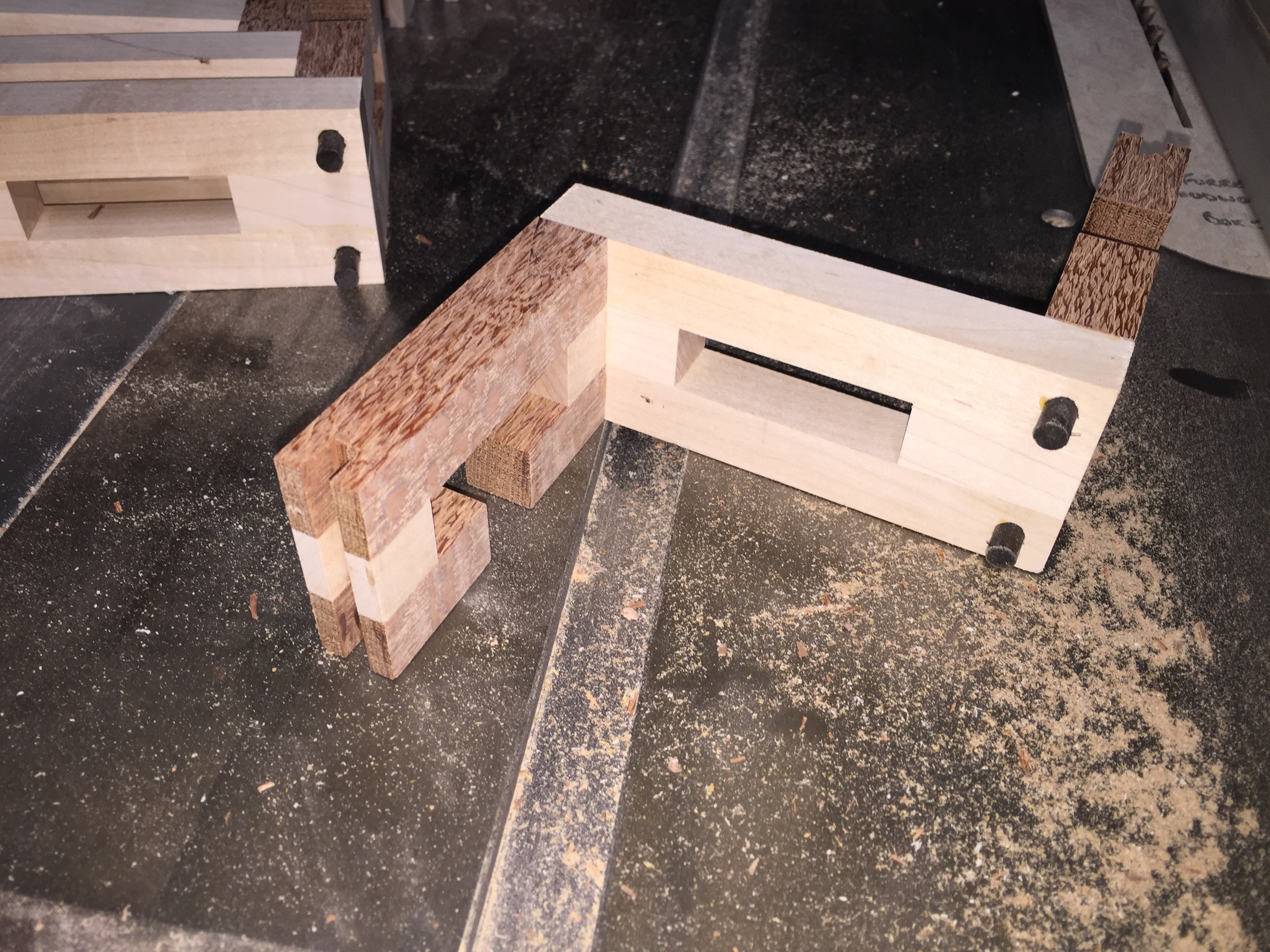 Dowels glued in place and slot cut for the spline
