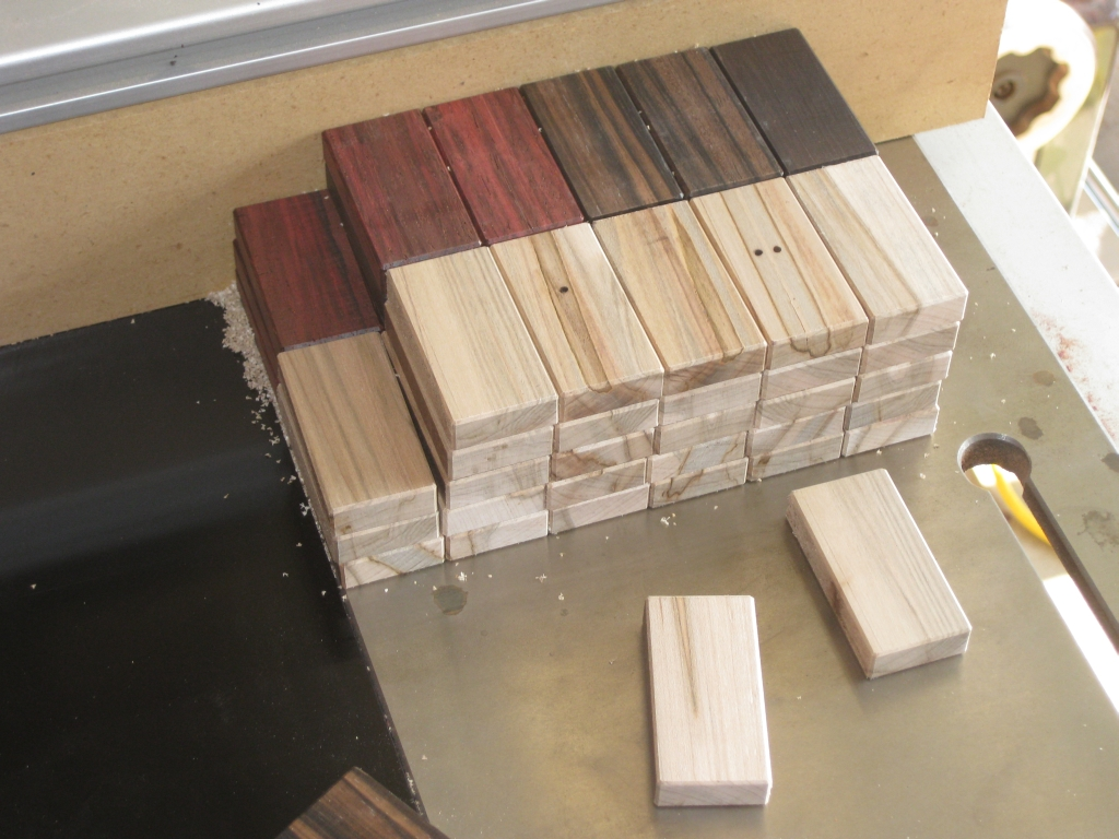 All the blanks chamfered, ready for their spots