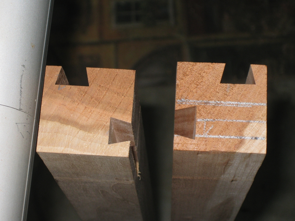 Comparison between final dovetails, and the first pass