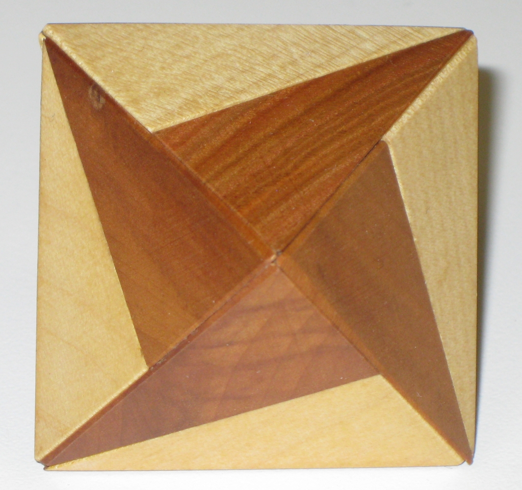 Vinco's Octahedron showing one of the patterns made from the contrasting woods used
