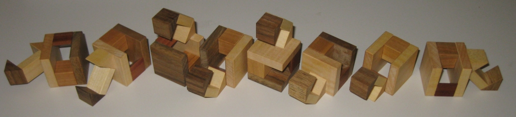 The eight pieces of the Twisted Halfcubes puzzle